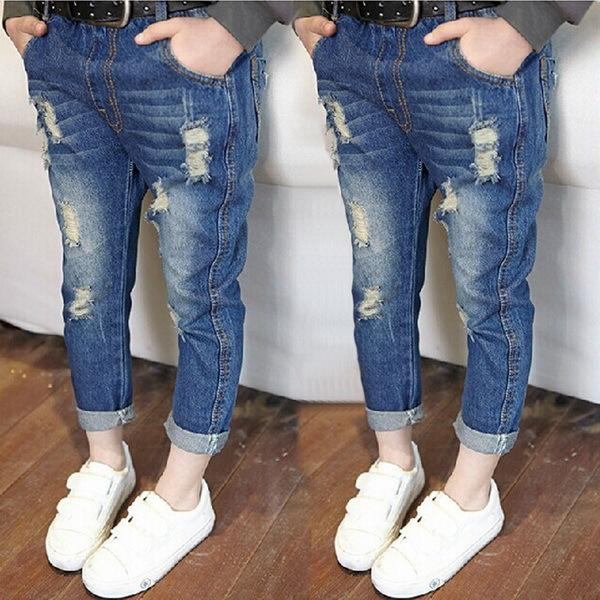 2017 Primavera Otoño Bebé Niños agujero Jeans Niños Rotos Lavado Fresco Pantalones de mezclilla Pantalones Niñas Toddler All Match Pants Ropa Infantil