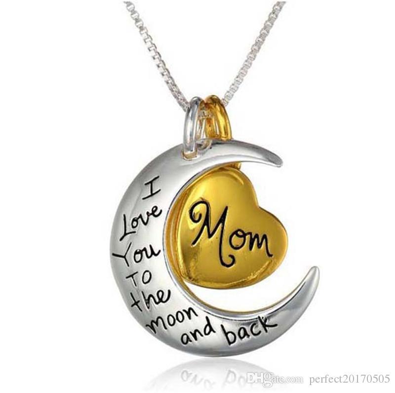 2018 haute qualité coeur bijoux je t'aime à la lune et retour maman pendentif collier fête des mères cadeau Thanksgiving cadeau bijoux ZJ-0903221