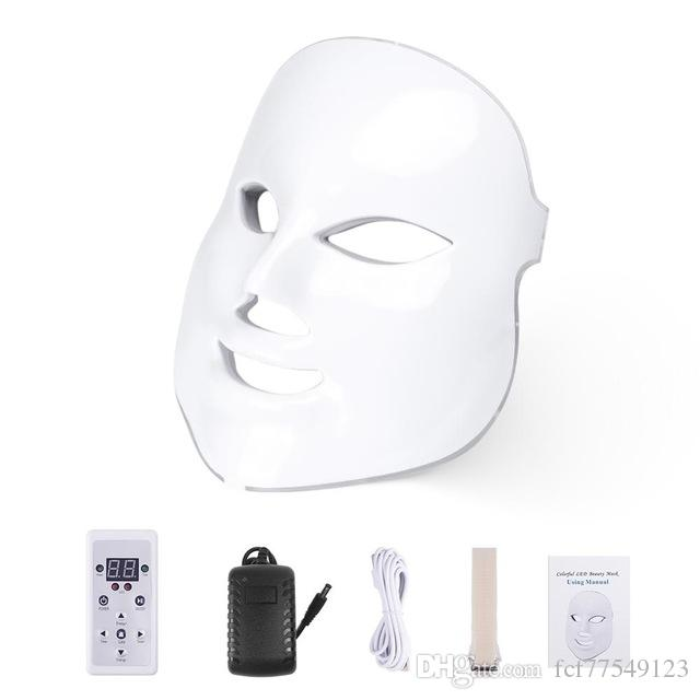 LM003 MOQ 1 White or Gold 7 Colors PDT Photon LED Facial Mask Skin Rejuvenation Wrinkle Removal Electric Anti-Aging HOME USE