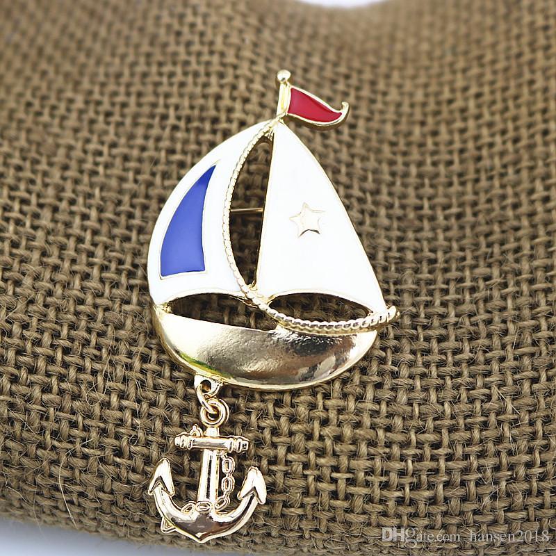 Vintage blau Emaille Schiff Broschen Hemd Kragen Clip Segeln Abzeichen Hijab Pins Dekoration Abbildung Boot Segel Form Broschen Pins mit Haken