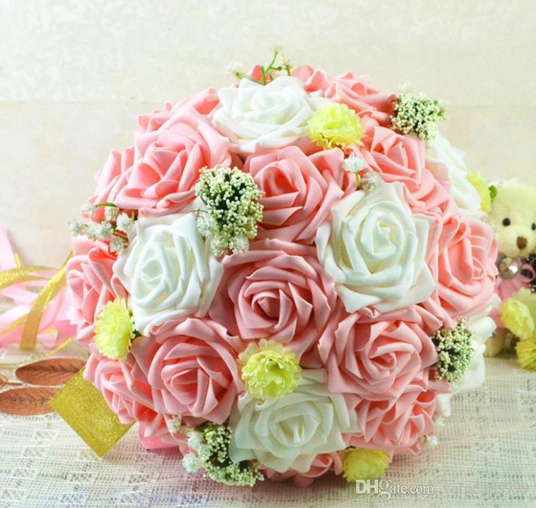 Neuer ewiger Engel, Braut, die Blumenstrauß, Hochzeitsprodukte, Simulationsblumenstrauß hält