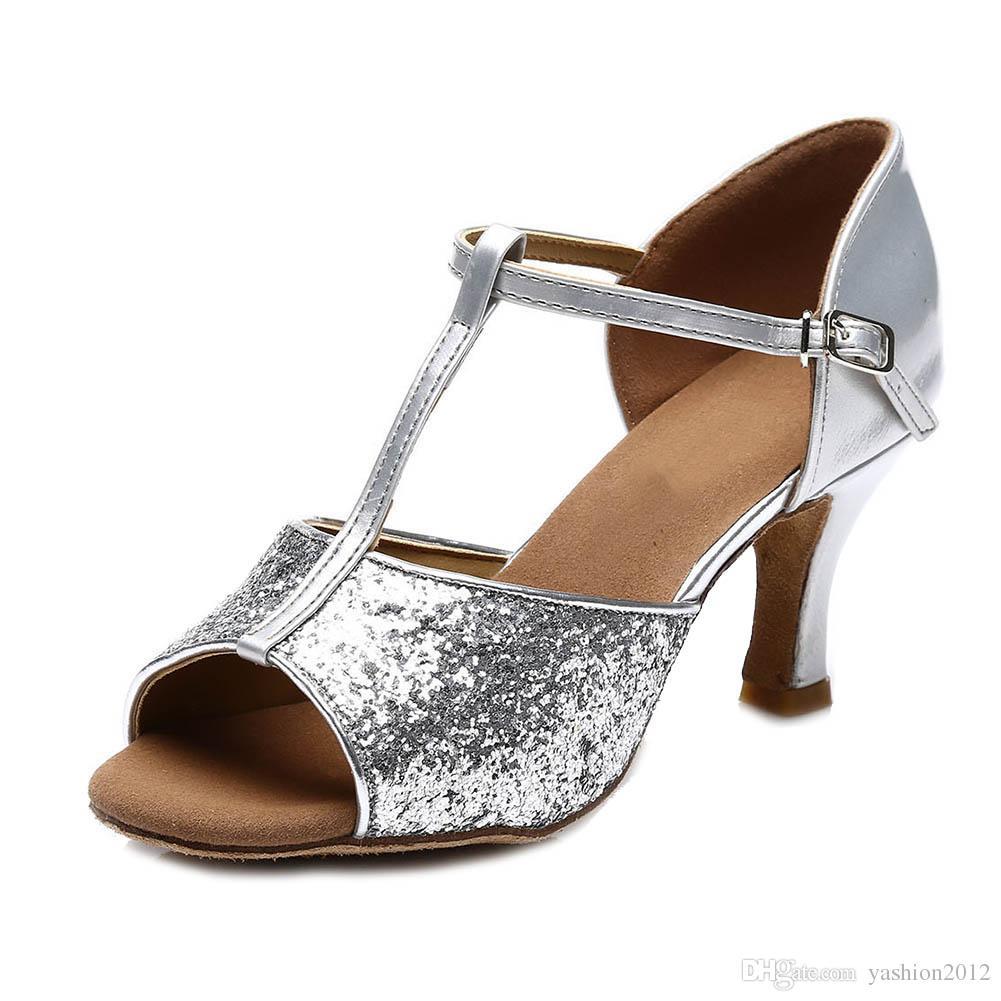 Новый танго каблуках атласные танцы девушки женщины бальный Латинской обувь дамы на высоком каблуке