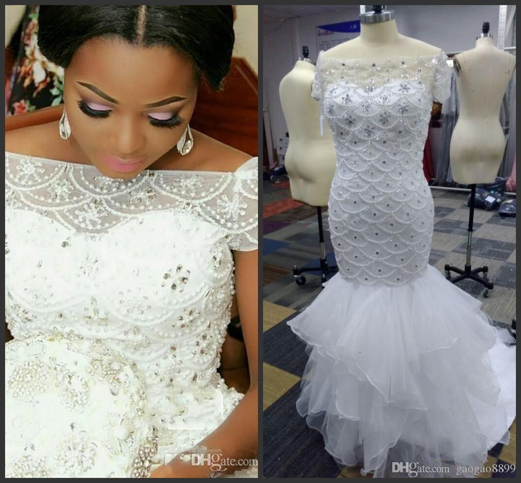 Real Pictures 2019 African Nigerian Styles Plus Size Mermaid Wedding Dresses Bridal Gowns Beading Tiered Short Sleeves Long Sweep Train