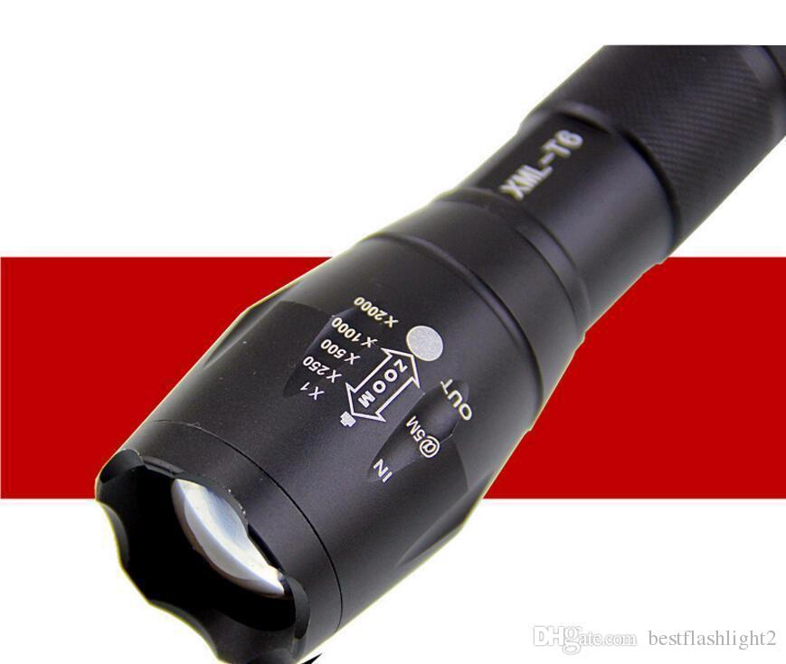 Black CREE XML T6 3800Lumens High Power LED Torches Zoomable Tactical LED Flashlights torch light for 3xAAA or 1x18650 battery Free Shipping