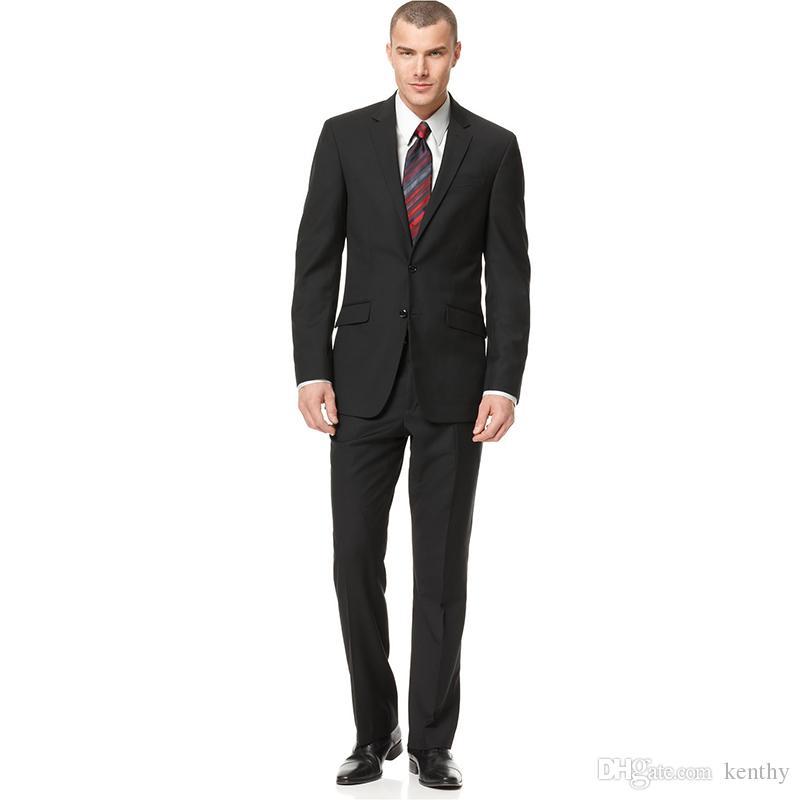 2018 Men Suits Black Notched Lapel Wedding Suits Business Bridegroom Groomsmen Custom Made Slim Fit Formal 2Piece Best Man Blazer Tuxedos