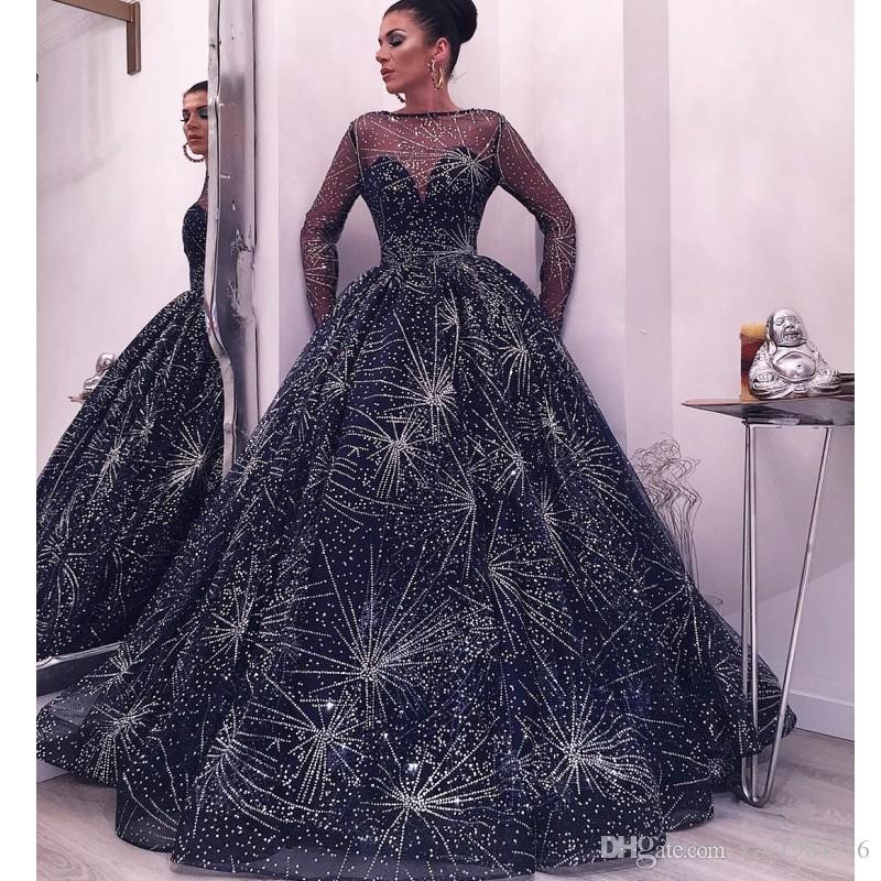 Beautiful Starry Gown Evening Dresses Fashion Bateau Neck Long Sleeve Fluffy Prom Dress Luxury Dubai Saudi Arabia Celebrity Red Carpet Dress