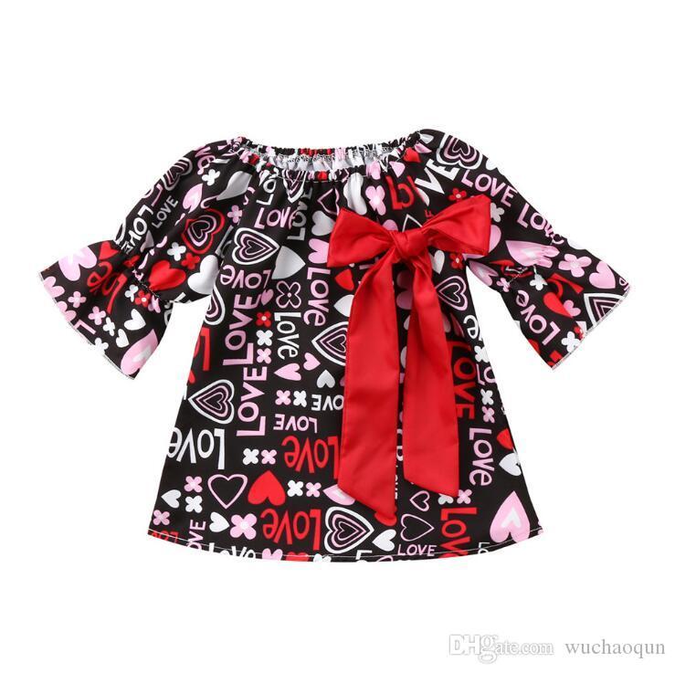 New Girls Dresses Cute Love Letter Heart Printed Princess Dress Big Red Bowknot Half Sleeve Kids clothing Dress Girl Round Collar Dress