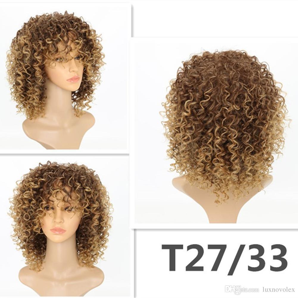 Perruques bouclés crépus pour les femmes noires Blonde Synthétique Couleur des cheveux T27 / 30 Afro bouclés cheveux perruques court Crépu bouclés pleines Perruques
