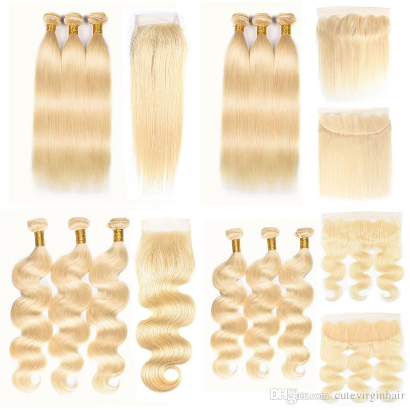 10-24 Zoll Günstige # 613 Blonde Bundles mit 4 x 4 Free Part Lace Top Closure und 13 x 4 Lace Frontal Straight Body Wave Echthaar Webarten