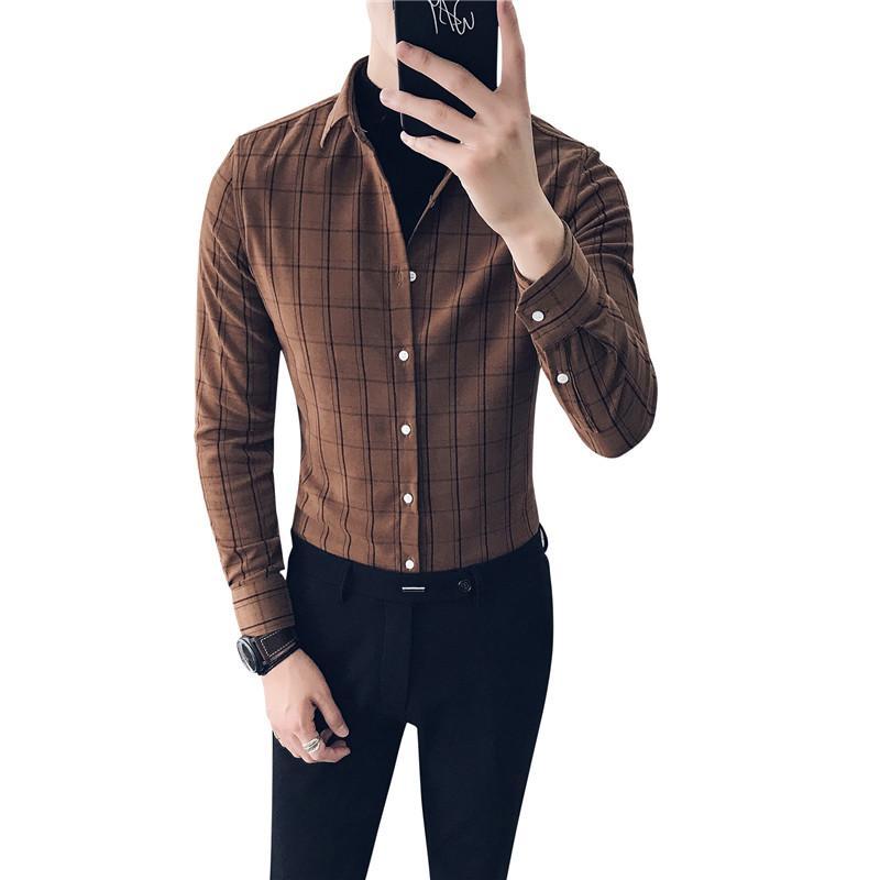 Winter 2018 new British gentleman tough guy style sub-grinding long-sleeved shirt DC--03