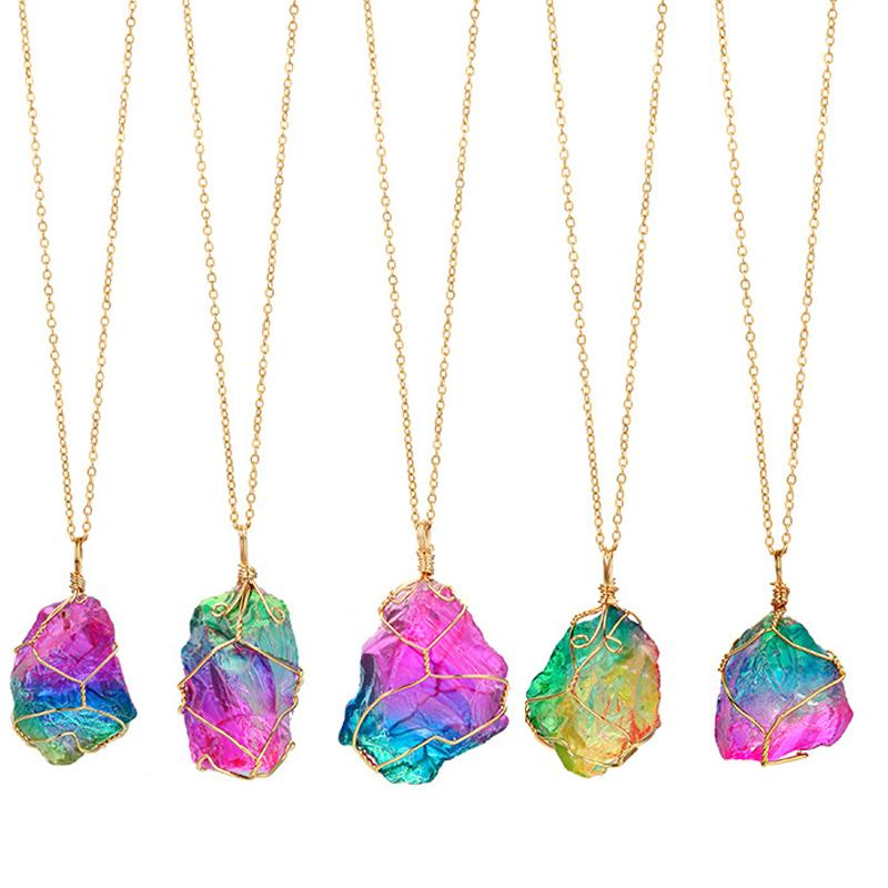 natural stone winding crystal pendant transparent multicolor chain necklace neck wholesale