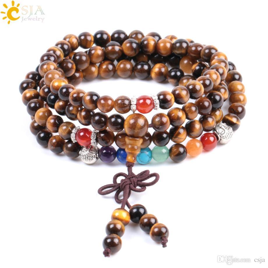 CSJA Natural Stone Tiger Eye Wielowarstwowe Mężczyźni Kobiety Różaniec Koraliki Bransoletki 7 Chakra 108 Modlitwa Mała Koraliki Buddha Medytacja Uzdrowienie Reiki F006