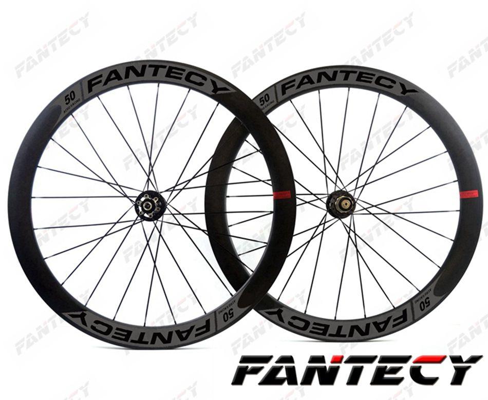 FANTECY 700C قرص الفرامل عجلات الكربون الطريق 50MM عمق 25MM عرض الدراجة الفاصلة / العجلات الكربون أنبوبي مع NOVATEC 791/792 محور U- شكل