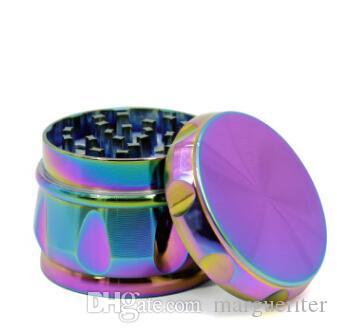 4 capas de molinillo de tabaco trituradora de cigarrillos nuevo estilo Iceblue Rainbow Color Zinc Alloy molinillos para fumar 63 mm