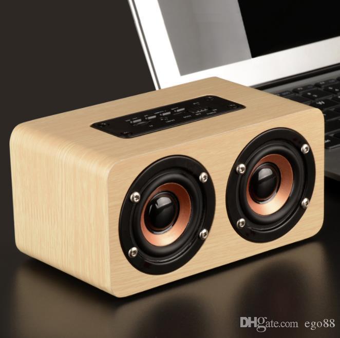 High quality W5 Wooden Bluetooth Speaker 10W Output Strong Bass Music Sound High Definition Intelligent Handsfree TF Card Aux Speaker