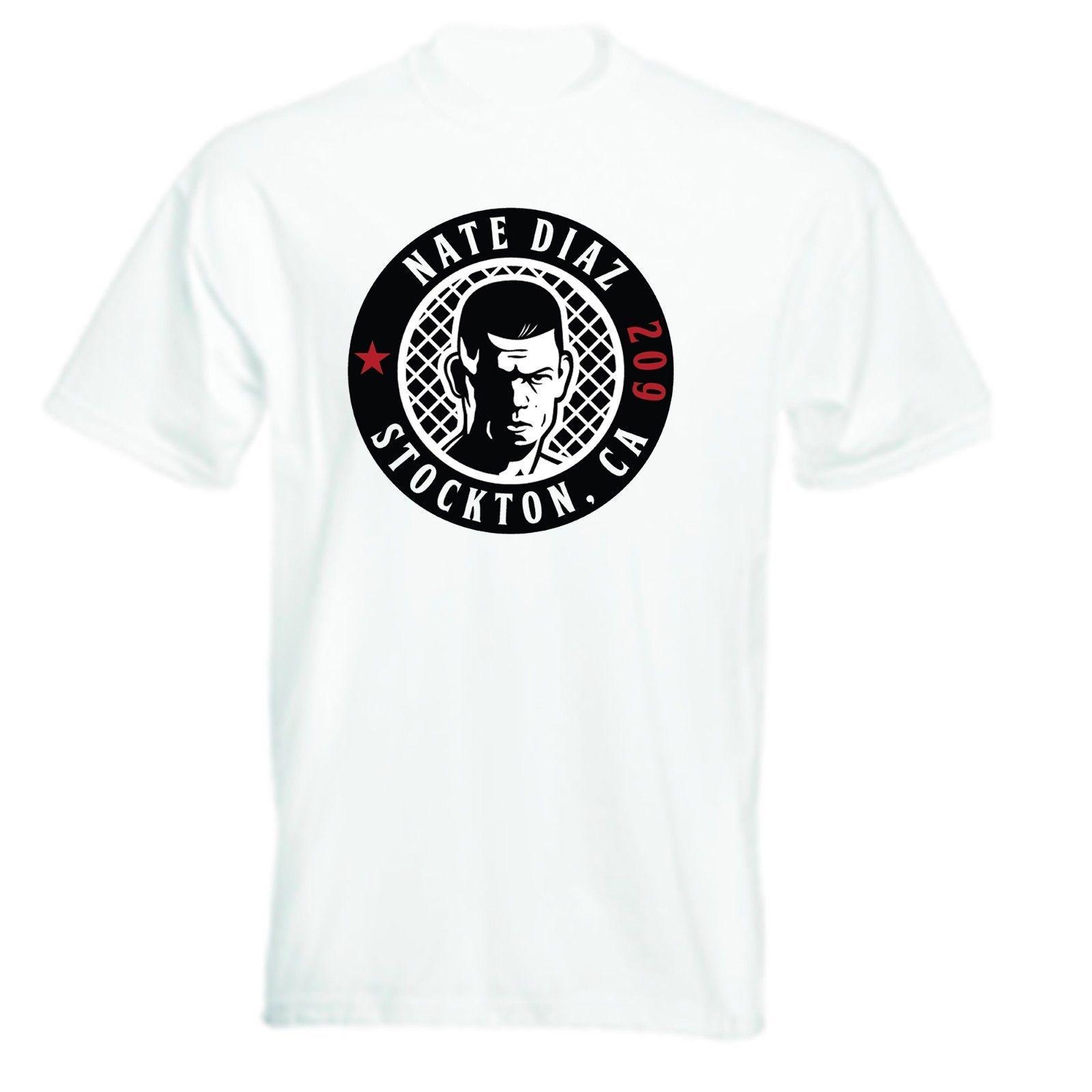 Nate Diaz 209 Inspirado Camiseta 100% Carta de Algodão Impresso Camisetas Top Tee Design de Manga Curta Camiseta Tops Básicos