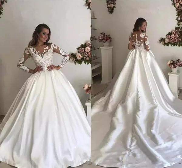 Discount Custom Arabic Lace Long Sleeves Wedding Dresses 2018 With Appliqued Jewel Neck Court Train A Line Wedding Bridal Gowns Wedding Dresses Under