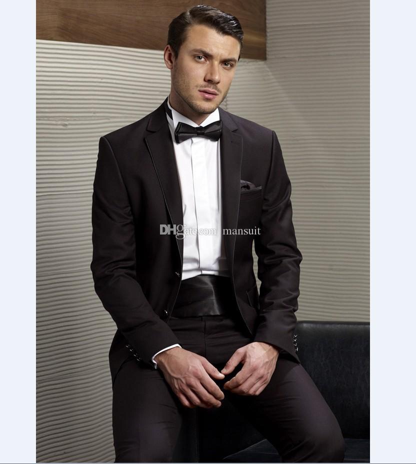 Custom Made Groomsmen Notch Revers Marié Tuxedos Homme Noir Costumes De Mariage / Bal Le Meilleur Homme Blazer / Époux (Veste + Pantalon + Noeud Papillon) M377
