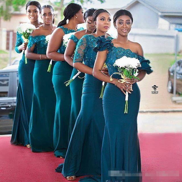 Onur Önlük Dantel Aplikler Uzun Kollu Denizkızı Sweep Tren Wedding Guest Elbise Yeni Arrvial Şık Nedime Elbise Of Göz Alıcı Hizmetçi