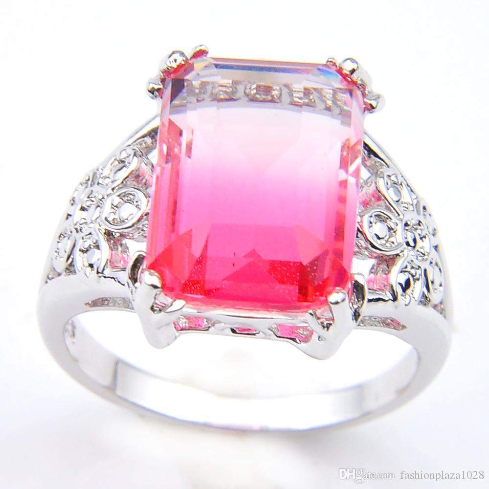 Luckyshine senaste stil torget rosa bi färgade turmaline pärlor 925 sterling silver pläterade amerikanska australien bröllop smycken r0189