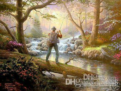 repro Thomas kinkade Landscape Handpainted /HD Print Wall Art OIL PAINTING On Canvas Multi Custom Size /Frame