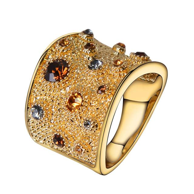 Wide Gold Color Finger Rings for Woman Multicoloured Rhinestones Paved Cocktail Ring Size 6 7 8 9 for Female