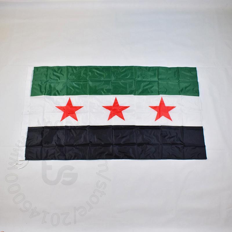سوريا 90x150cm 100٪ البوليستر 2 الجانبين مطبوعة العلم الوطني السوري الرياضة وديكور المنزل أعلام والرايات
