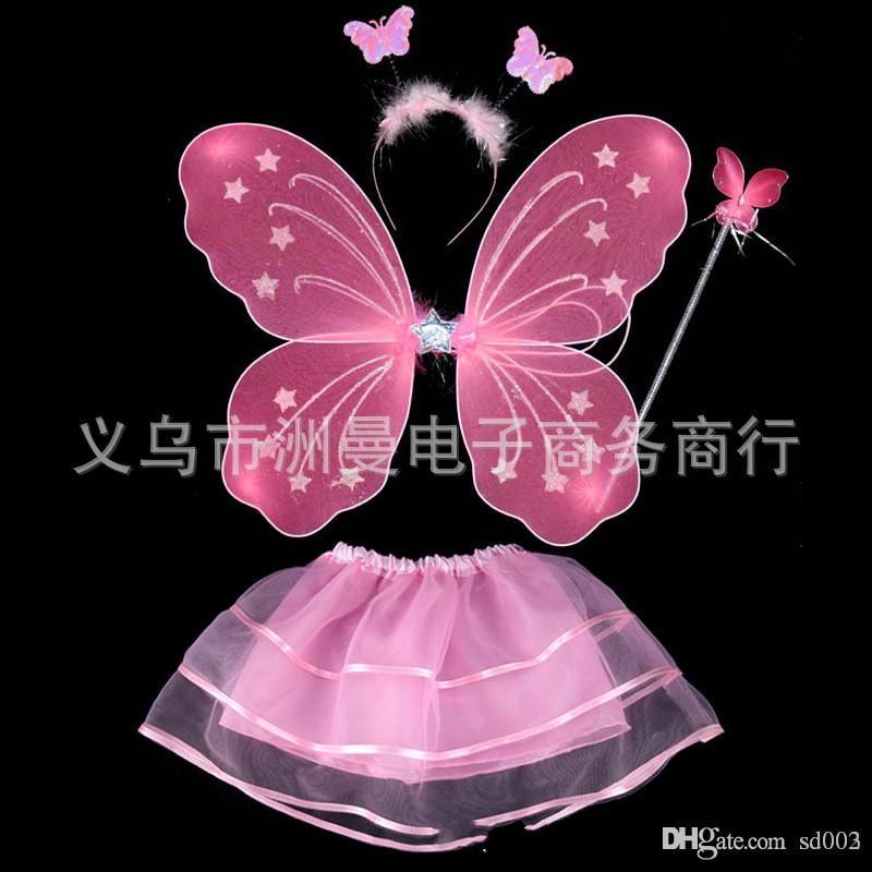 Дети производительность костюм опора бабочка Крыло ангела магия бар монослоя четыре части костюм цвет Фея палочка 7 3zm ii
