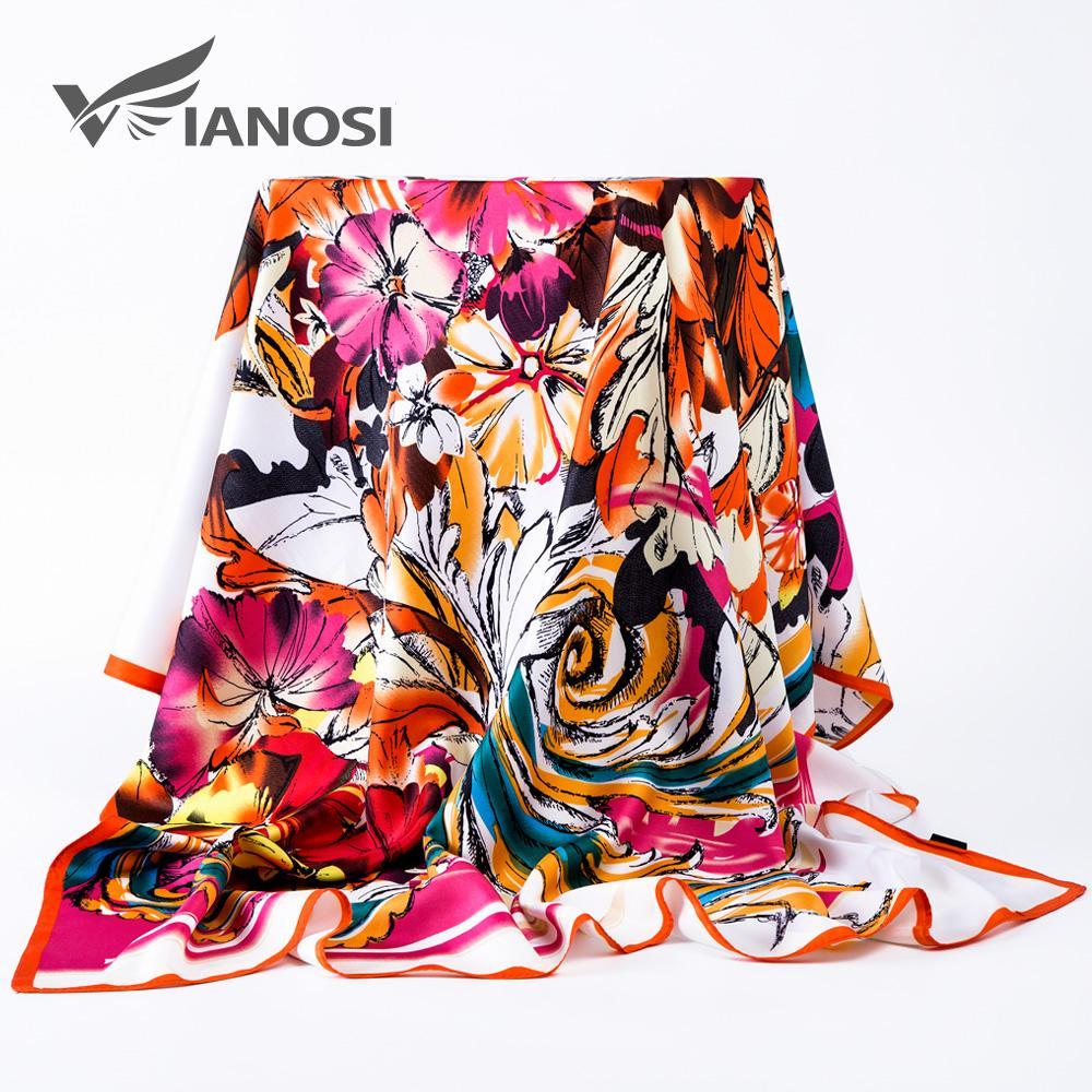 [VIAONS] Art und Weise Frauen-Silk Schal 100 * 100cm Quadrat Satin-Schal-Frauen Kopftuch für Haar WJ812
