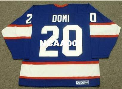 Men # 20 TIE DOMI Winnipeg Jets 1993 CCM Vintage Retro Away Hockey Jersey o personalizzata qualsiasi nome o numero Retro Jersey