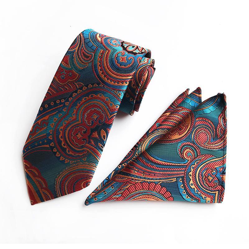 10 개 스타일 패션 남성 목은 브랜드 넥타이 손수건 두 종 세트 폴리 에스테르 페이즐리 넥타이 무료 배송을 묶어