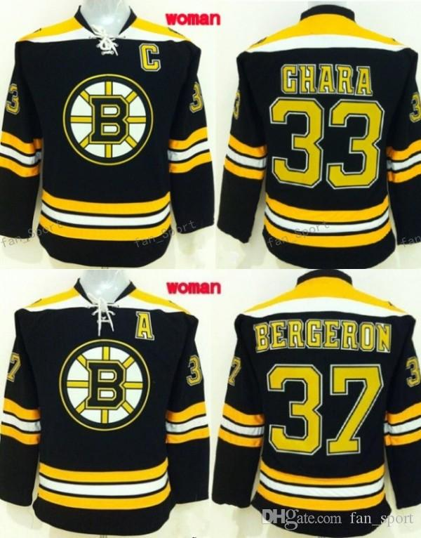Women Zdeno Chara Jersey 33 Boston Bruins Hockey Woman Jerseys Patrice Bergeron 37 Team Color Black Fashion All Stitched Quality