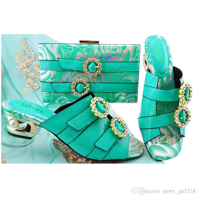 e78866d9c7a 2018 Summer Teal wedding shoes and bags to match Decorated with Rhinestone  Nigerian Women Wedding Shoes and Bag Set Italy Shoes and Bag