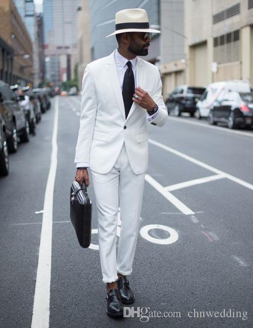 Custom White Men Suits 2018 Wedding Groom Tuxedos Groomsmen Party Best Man Suits Prom Wear (Jacket+Pants)