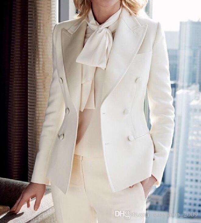 New2018 CUSTOM mujer trajes de negocios formal traje de oficina trabajo marfil damas elegantes pantalón trajes para bodas traje de pantalón femenino de esmoquin