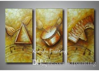 100% hecho a mano moderno 3 panel abstracto música pinturas arte de la pared lienzo música abstracta pinturas inicio deco regalo envío gratis