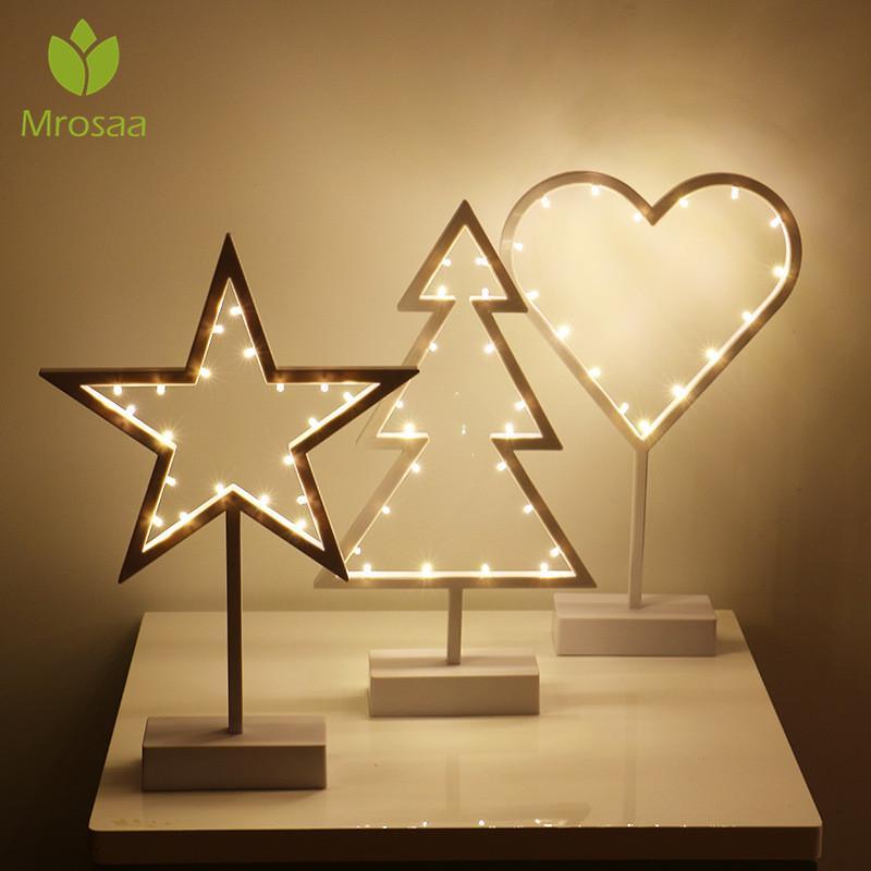 Ornamento claro Mrosaa INS LED Estrelas Amor Noite Lâmpadas Warm White vivo Bedroom Iluminação Wedding Party Decor Festival de Natal