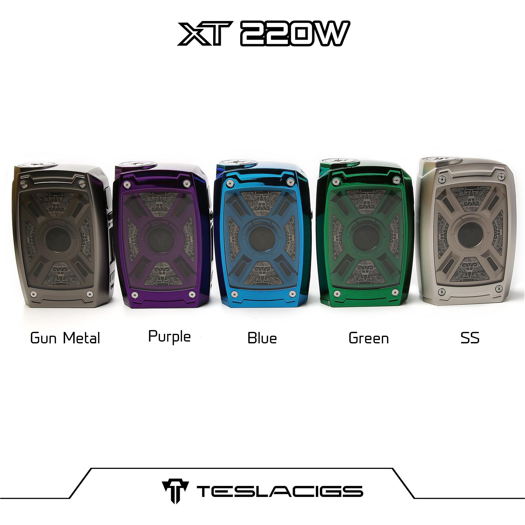 100% Аутентичные Teslacigs XT 220 Вт Box Mod Light Edition Использование Dual 20700 21700 18650 Батарея Dhl Доставка