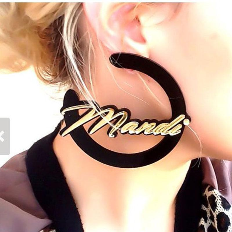 Personal Custom Name Design Moon Style Unique Acrylic Earrings Perfect Gift for Best Friend Love Jewelry for Girls