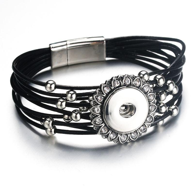 Magnet Schnalle Schwarz Strass Snap Armband Echte Echtem Leder Armband Fit 18mm Druckknopf Für Frauen Schmuck 9129
