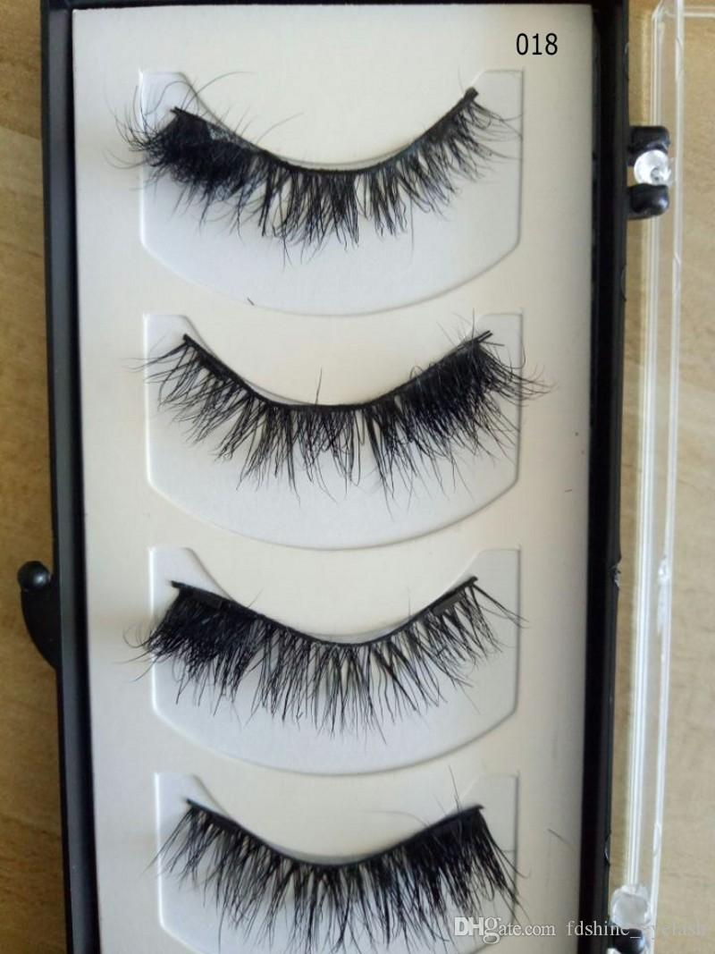 Hot Makeup Magnetic Eyelashes 4 Pcs Set Magnet Mink False Eyelashes 100% Handmade Natural Long Thick Eyelash Extensions