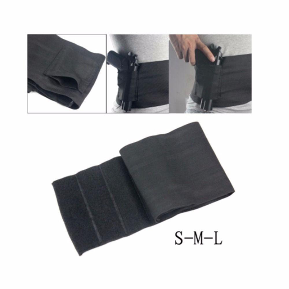 Elastic Belly Gun Band Adjustable Waist Belt Binder Pistol Holster with 2 Mag Pouch Abdominal Slimming Undercover Black Color
