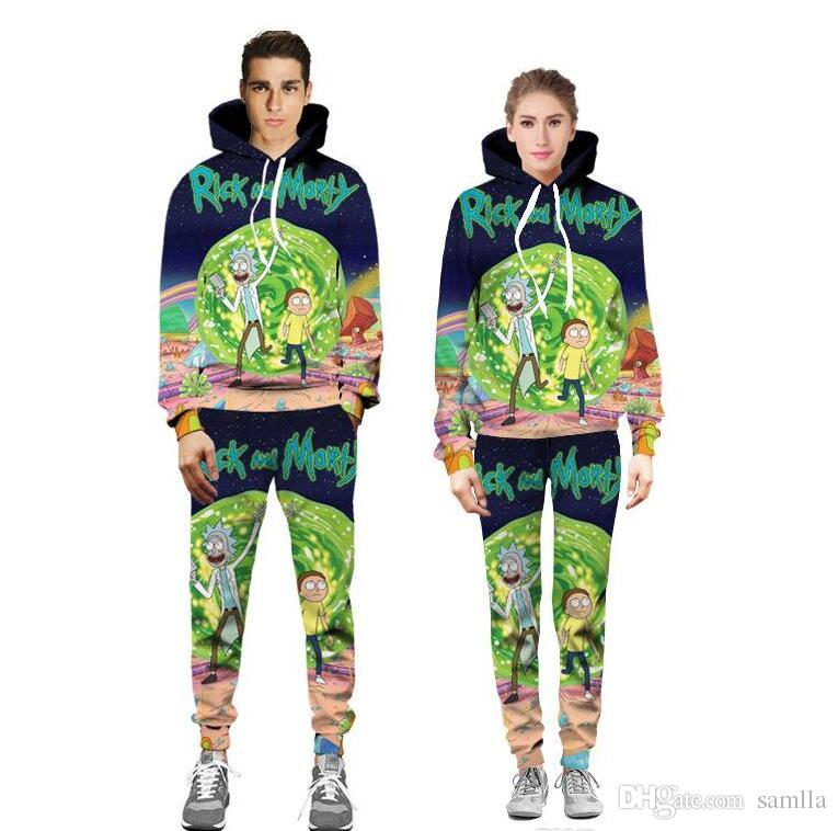 Eur New Spring Funny 3D Cartoon Printed Hoodies & Pants Fashion Mens and Women Tracksuit Lover Casual Suit Pullover Jogger Pants