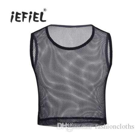 iEFiEL Hombres sin mangas Malla transparente Mallas Muscle Slim Fit Short Style Wetlook Tank Top Camiseta Ropa para hombres