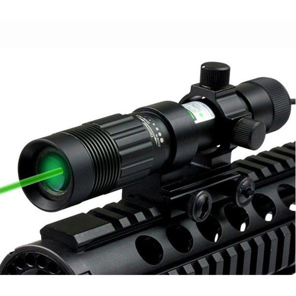 Tactical 5MW Зеленый лазерный прицел Область прицела Icoom Zoom Beather Регулируемая с 20 мм Picatinny Rail Mount и переключателем кадров хвоста.