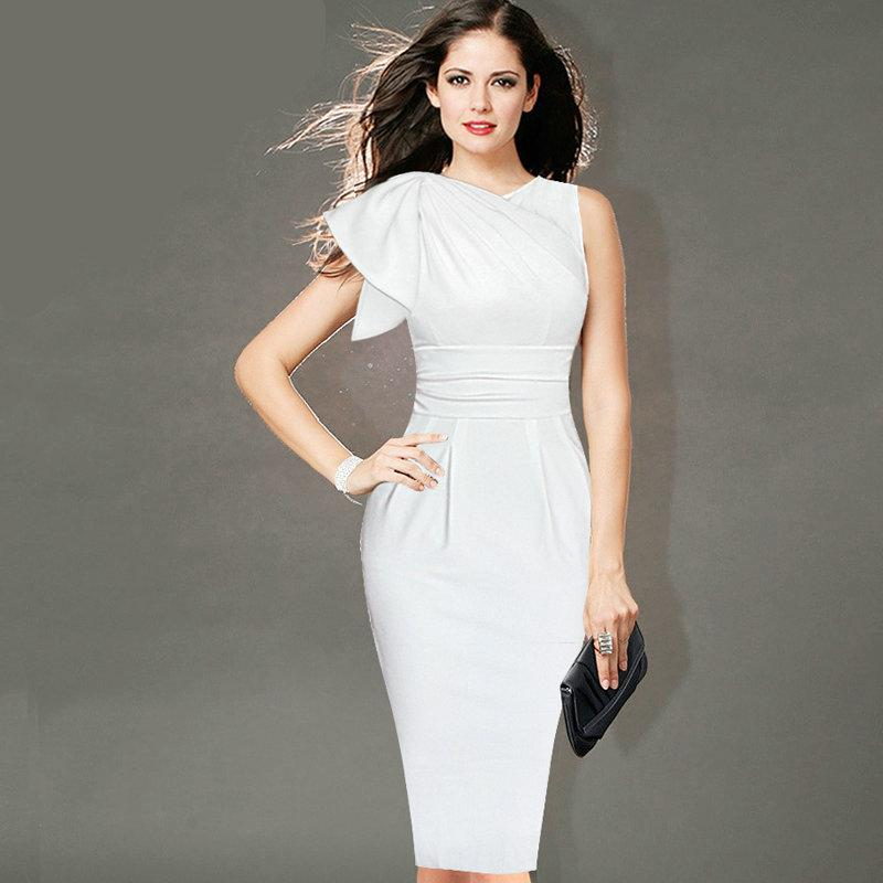 New Desi Fashion Womens Elegant Ruffle Sleeve Ruched Casual Party Work Fitted Stretch Slim Wiggle Pencil Sheath Bodycon Dress