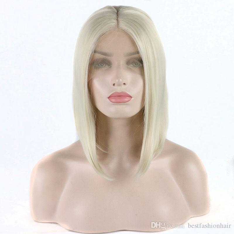 Short Bob Synthetic Wigs White Blonde Straight