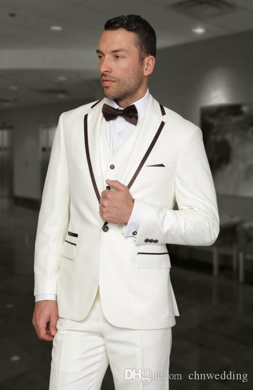 Custom Made White Men Suits 2018 Peaked Lapel Groom Tuxedos Wedding Best Man Blazers Business Set(Jacket+Pants+Vest)