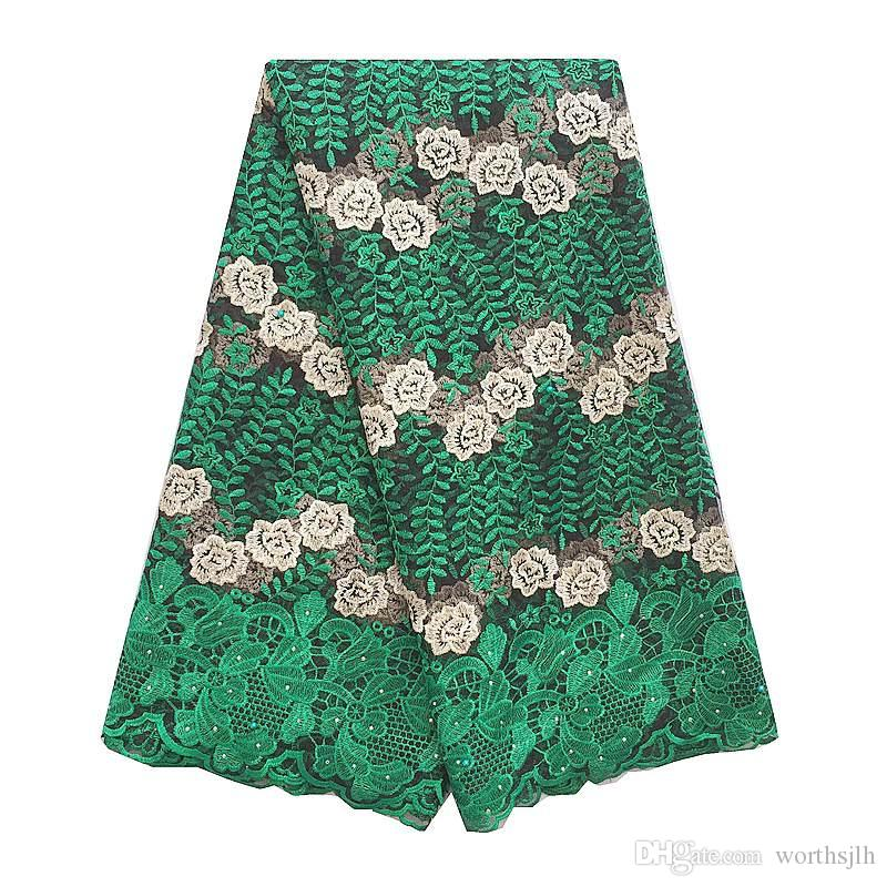 Peach Green Nigerian Lace Fabric Beads Stones High Quality French African Lace Fabric For Aso Ebi Wedding Party Dresses 2018