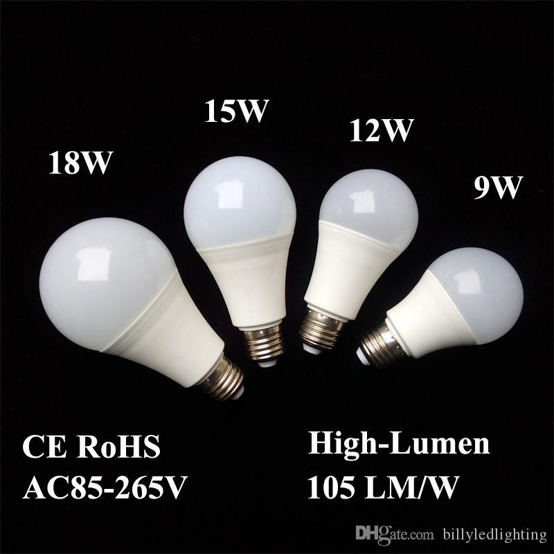 LED Bulbs E26 E27 B22 Lamps Energy-saving Light Global Bulb 9W 12W 15W 18W 110V 220V 240V SMD2835 Smart IC Real Power